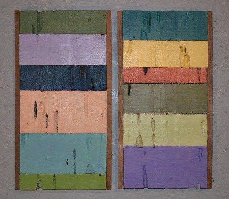 2pc Modern Reclaimed Barn Wood Wall Art Sculpture Natural