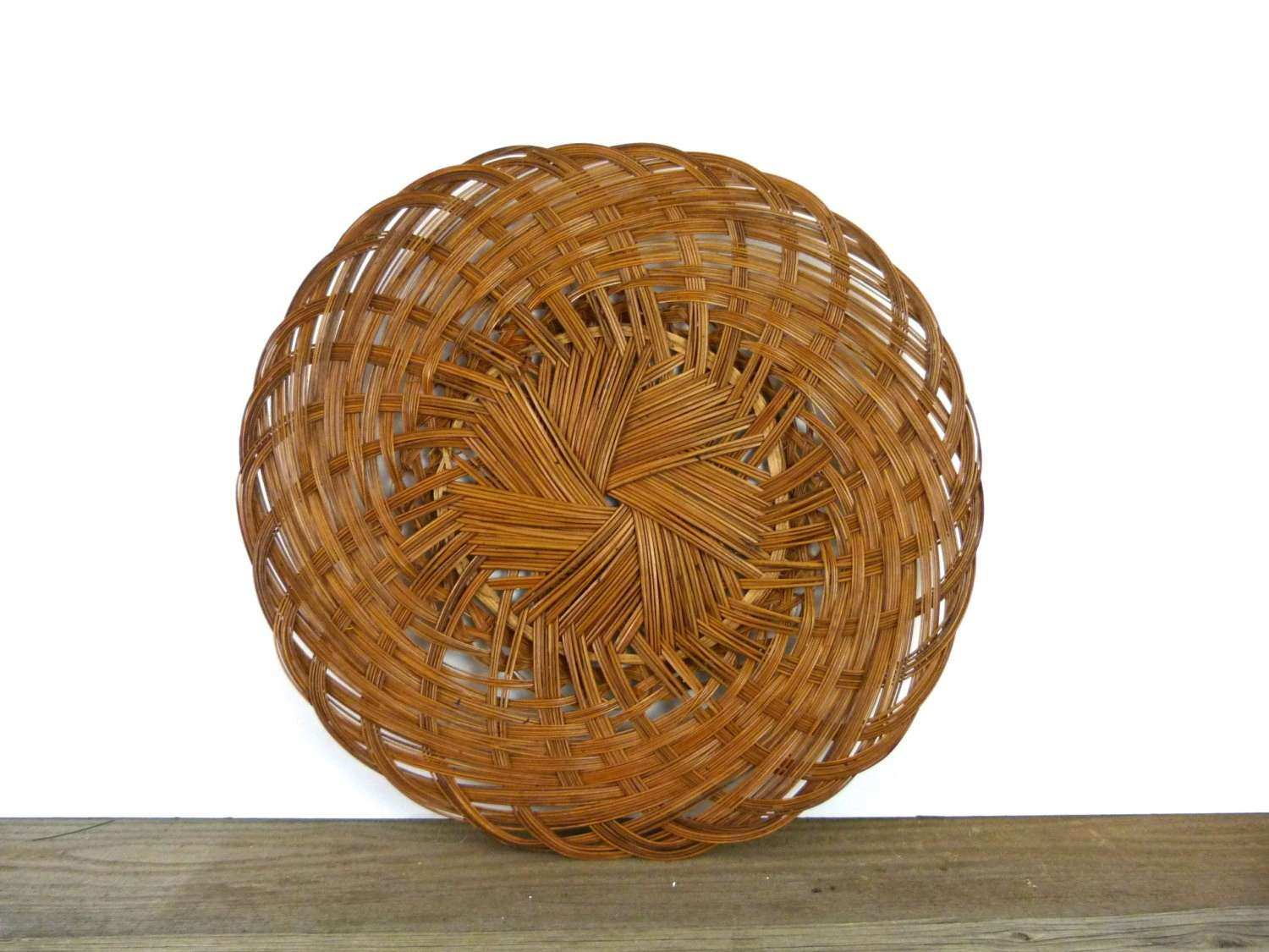Basket Wall Decor Inspirational Vintage Woven Tray Hanging By Douglasvintage