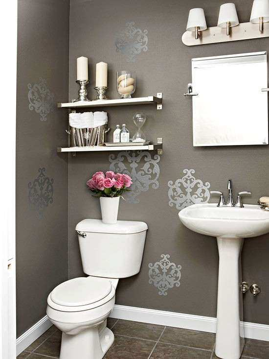 Gray Powder Room Contemporary bathroom BHG