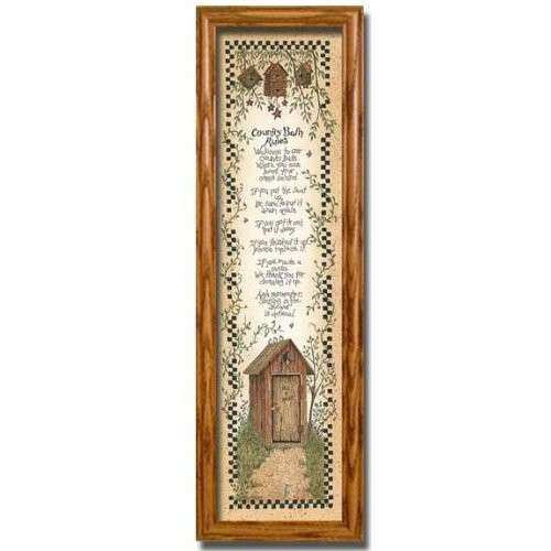 Amazon Country Bath Rules Decor Outhouse Wall Framed