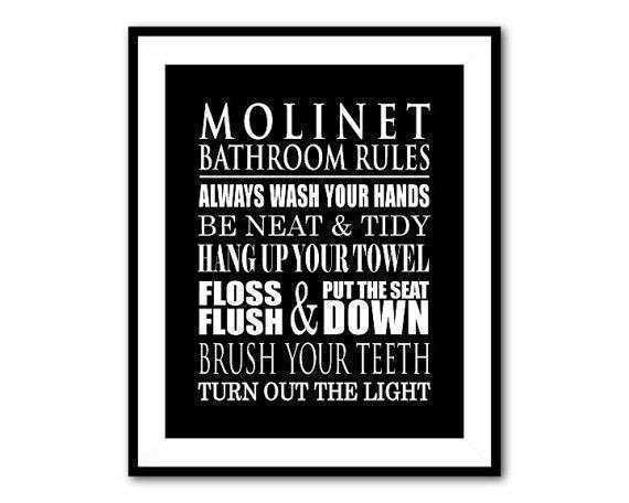 Personalized Bathroom Wall Art Typography Art Print