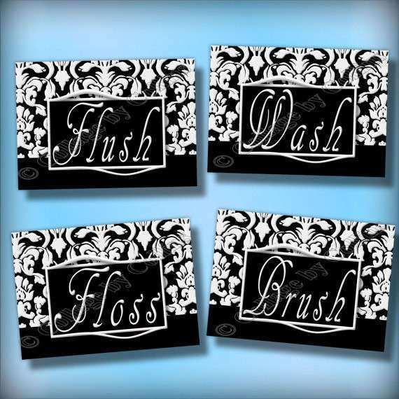 Bathroom Wall Art And Decor Unique Black And White Damask Bathroom Art Wall  Decor By