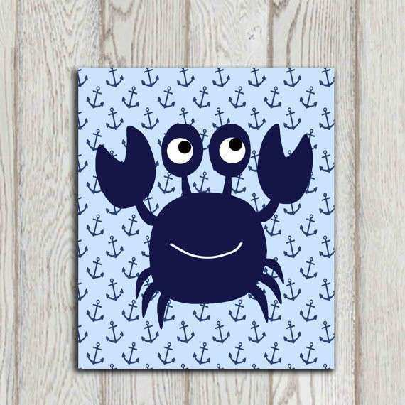 Crab wall art Crab decor Navy blue Beach bathroom by