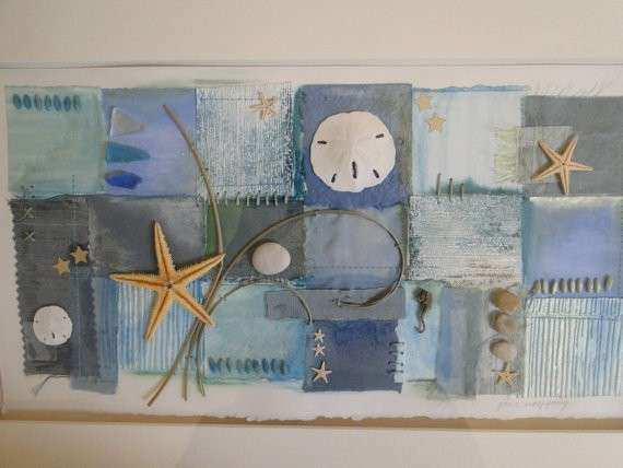 Items similar to Mixed Media Collage Beach Themed Wall
