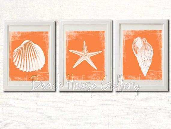 Orange Seashell Prints Beach Decor Beach Decor