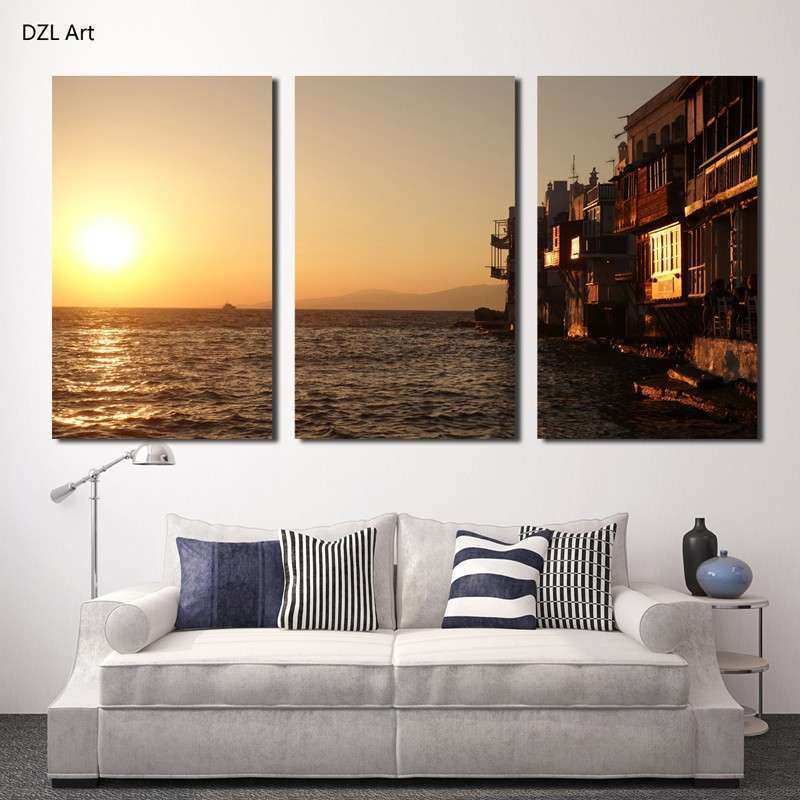 Buy Unframed 3 panels Hot SellBeautiful beaches Modern