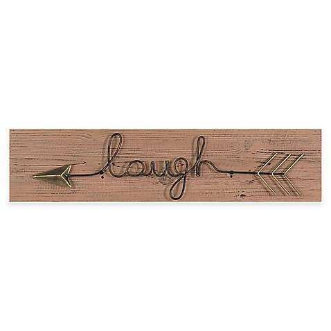 "Buy ""Laugh"" Metal Arrow Wall Art from Bed Bath & Beyond"
