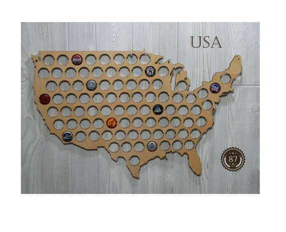 USA Beer Bottle Cap Map Wall Decor 16 x 24 by