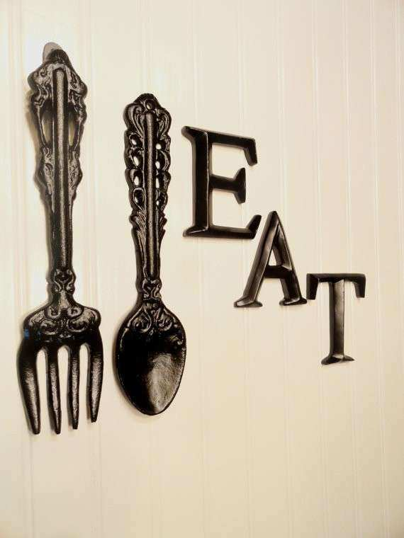 Big Fork And Spoon Wall Decor Unique Black Kitchen Eat