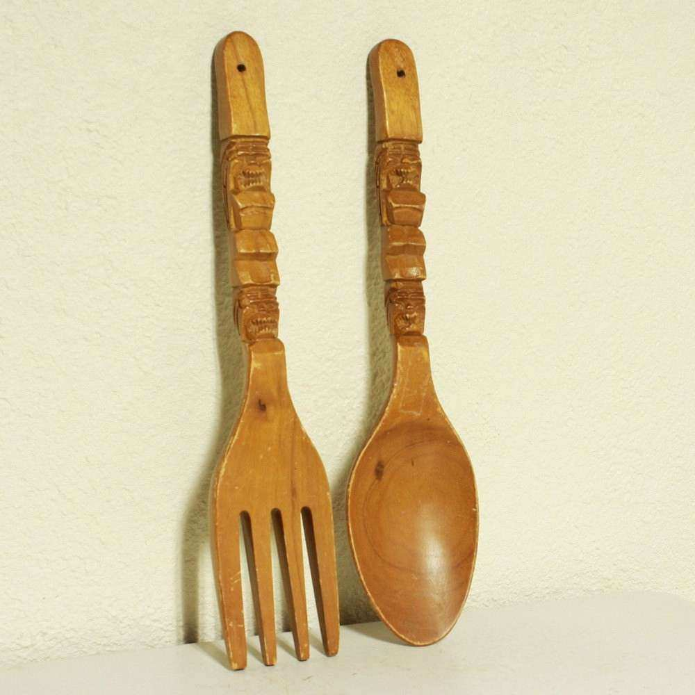Vintage wall decor fork and spoon wood oversize large
