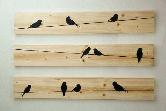 Birds On A Wire Metal Wall Art Beautiful Wooden Wall Decor Birds On ...