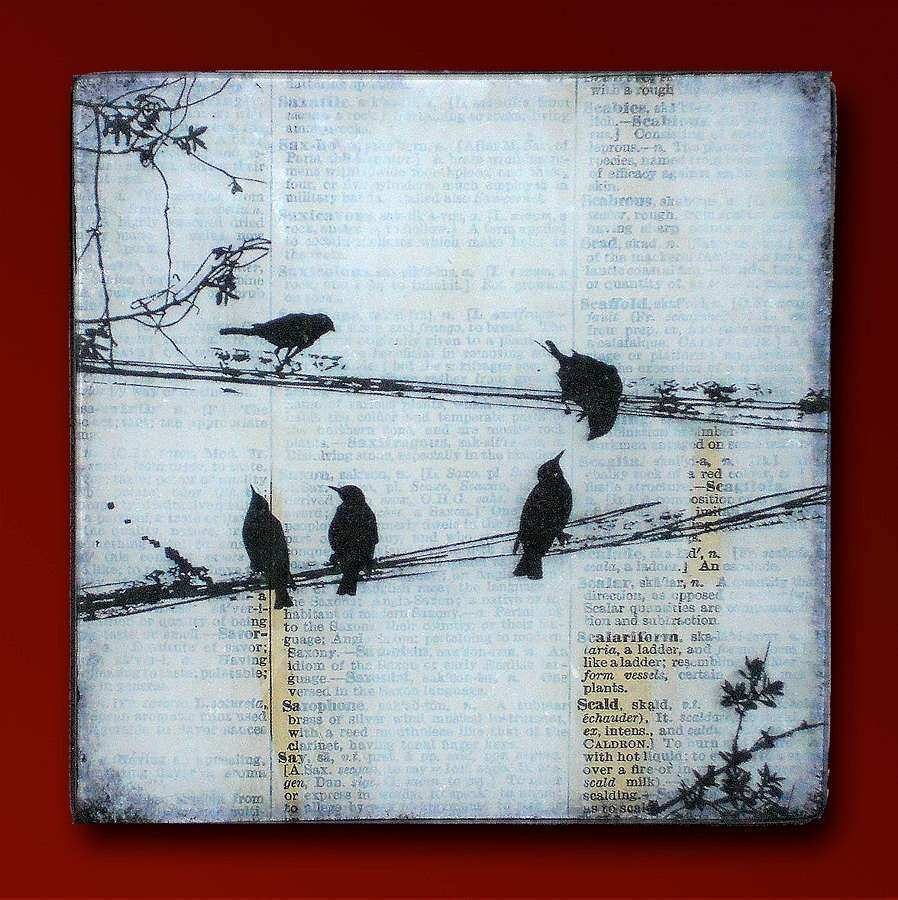 Black Birds on a Wire Handmade Glass and Wood Wall Blox from