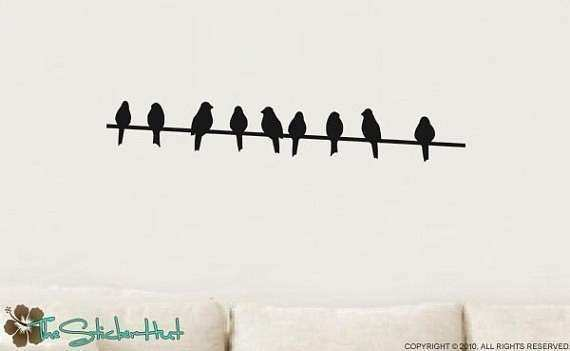 Items similar to Birds on a Wire Vinyl Wall Art Graphics