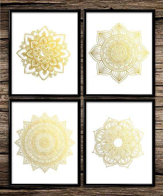 Modern gold mandala set gold print gold decor by