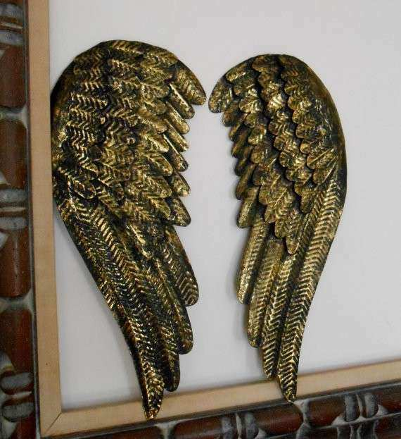 Black And Gold Angel Wings Metal Angel Wings by