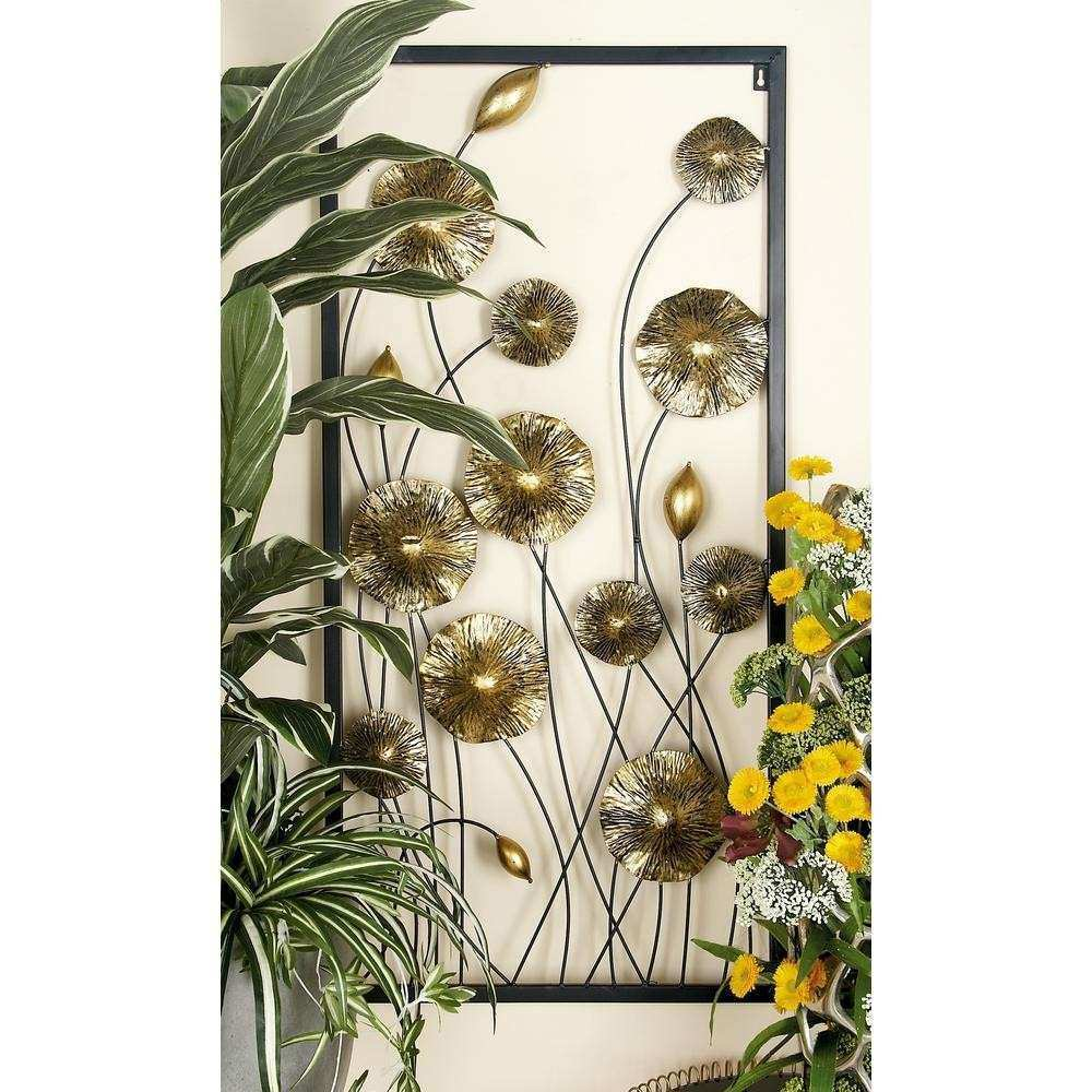 Iron Gold and Black Framed Flowers and Buds Triptych Metal