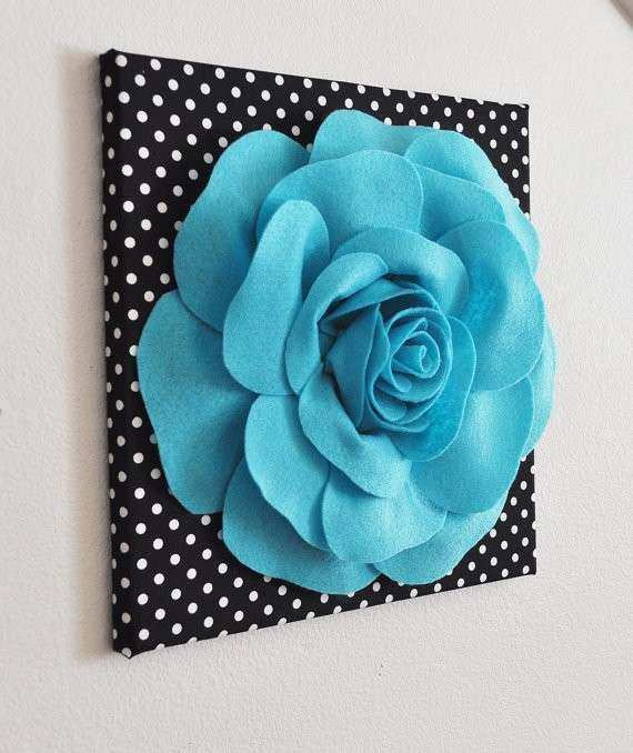 Flower Wall Decor Light Turquoise Rose on Black and White