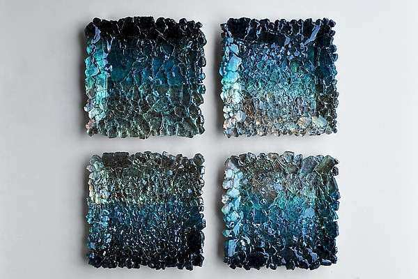 Black and Teal Ombre Modular Wall Sculpture by Mira
