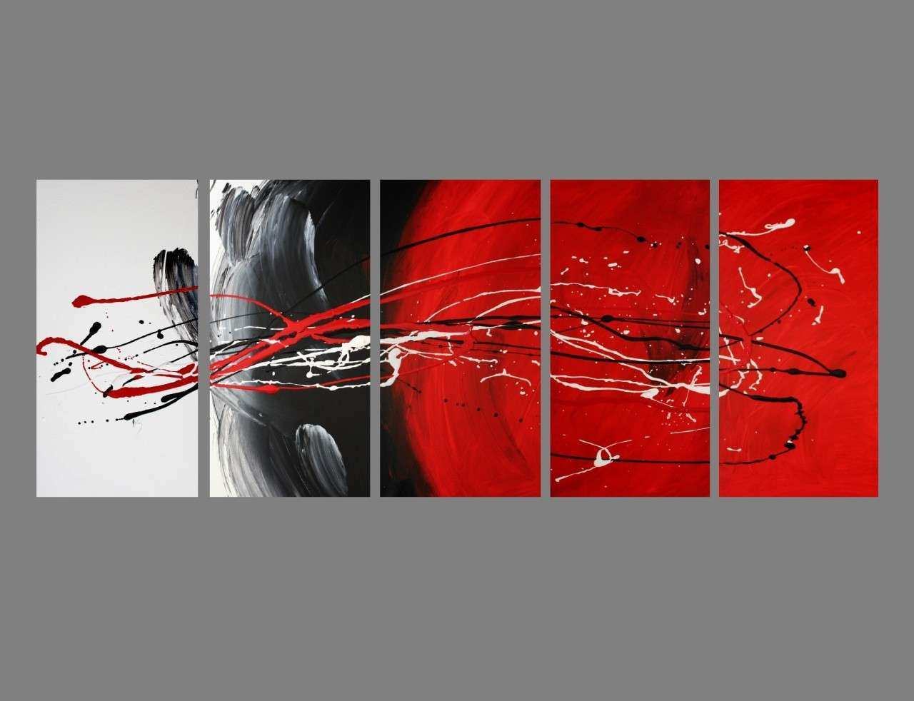 5 ABSTRACT CANVAS PAINTING red black white Modern wall