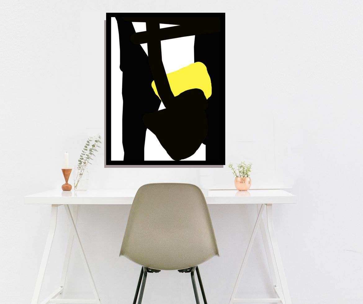 Black And White Wall Art Abstract Art Modern Black