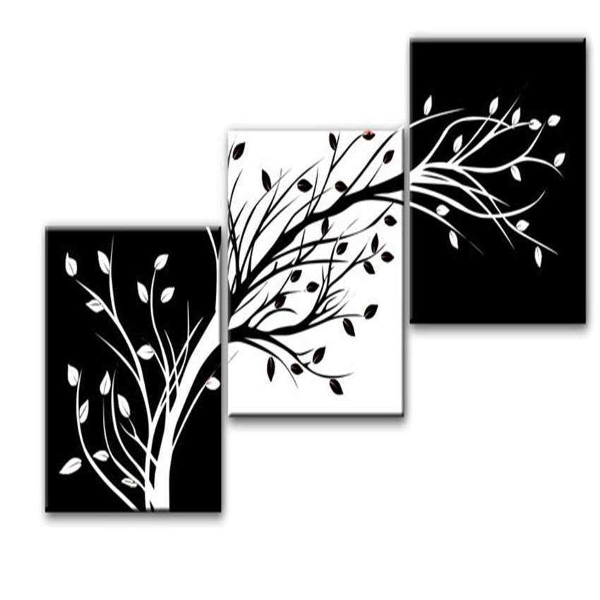 3 Piece Wall Art Modern Abstract Black And White tree