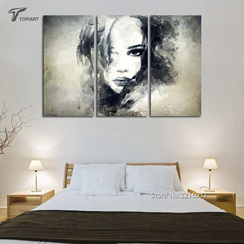 Wall Decor Canvas Painting Watercolor Black And White Art