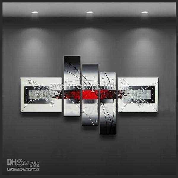 Black and white framed wall art new 2018 framed 5 panels black white and red wall
