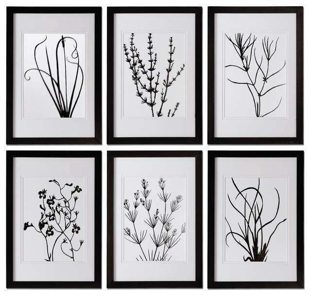 black and white leaves wall art