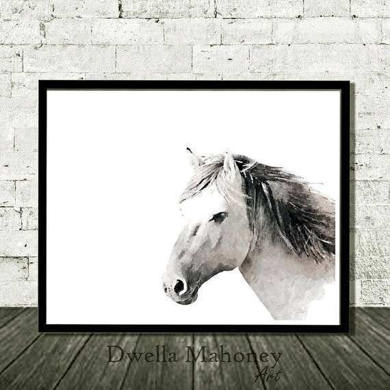 Horse Print Black White Grey Wall Art Printable Digital