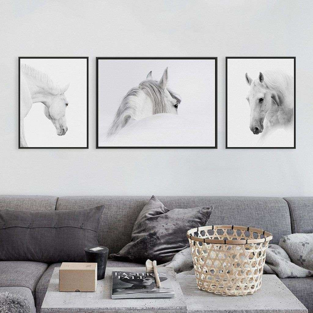 Triptych Modern Minimalist Black White Horse Animal Head