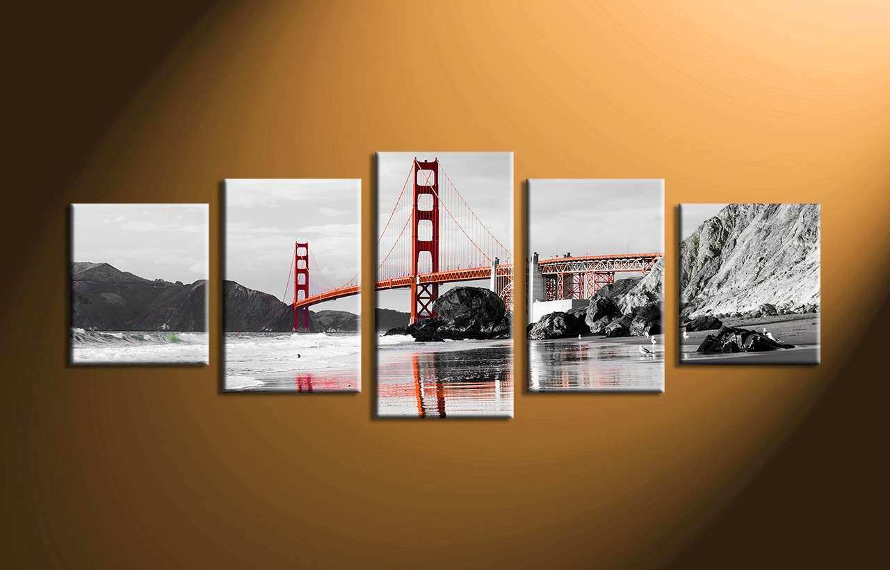 5 Piece City Black and White Huge Canvas Art