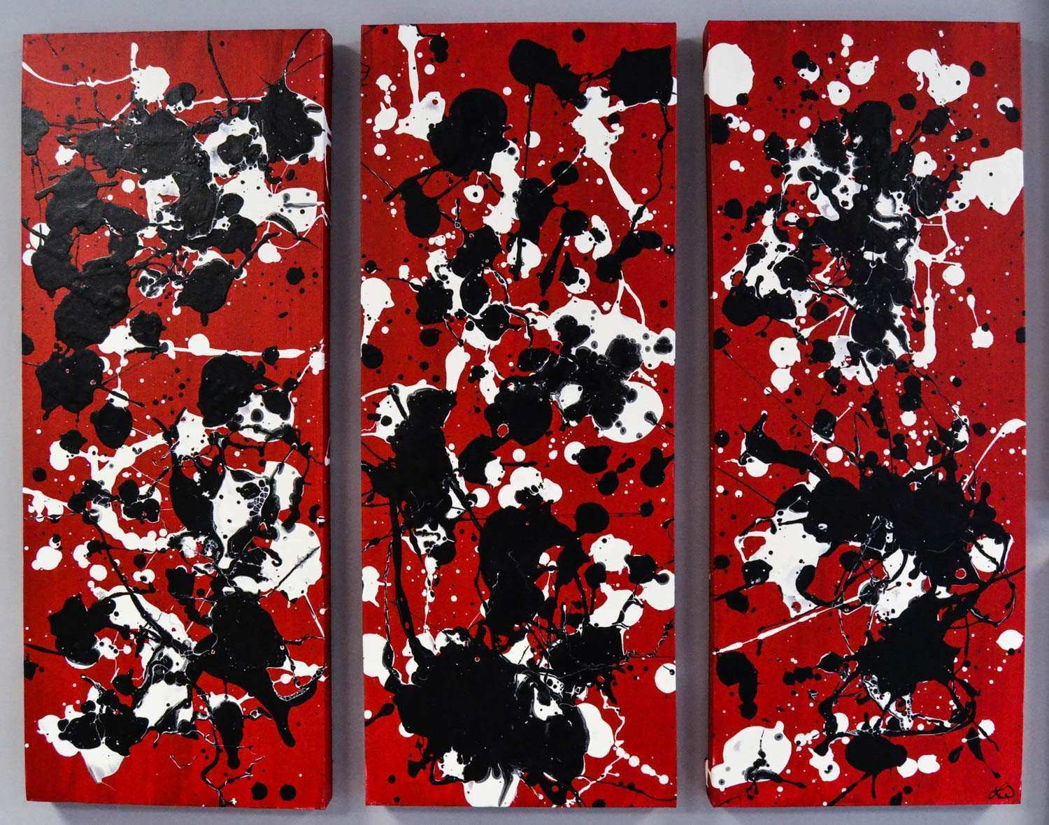 SALE Red Black and White Canvas Triptych Painting 36x30