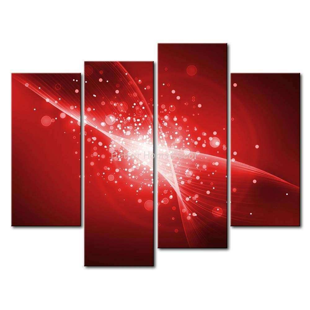 3 Piece Black & White And Red Wall Art Painting Red