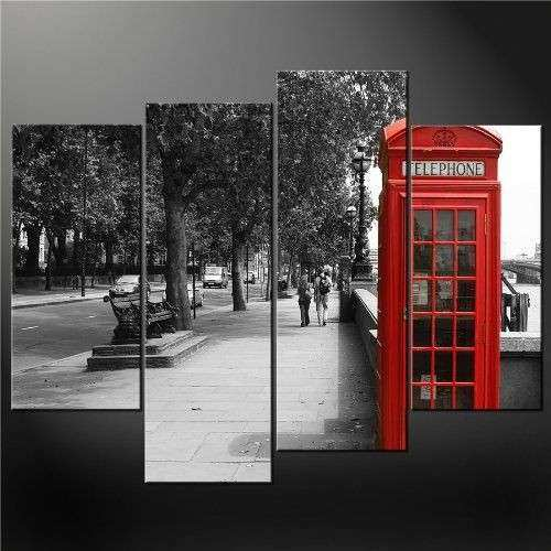 4 Panel Black White And Red Phone Booth London Wall Art