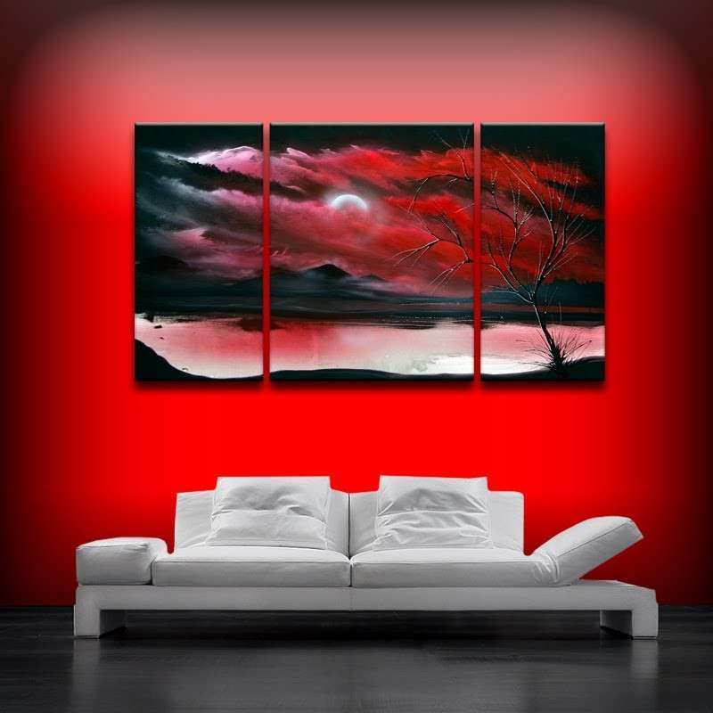 Red art landscape abstract by Theo Dapore