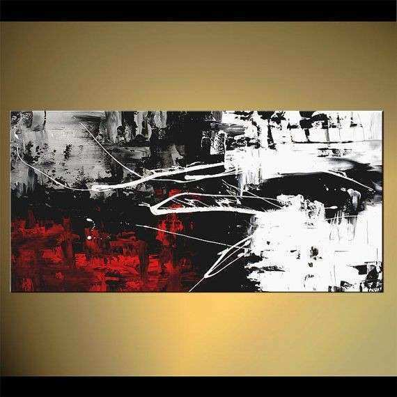 "Modern 48"" x 24"" Abstract Painting Black White Red Acrylic"