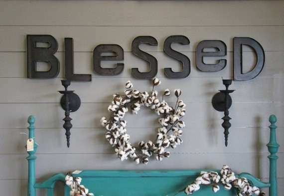 Rustic Metal BLESSED Wall Sign Custom Steel Blessed Letters