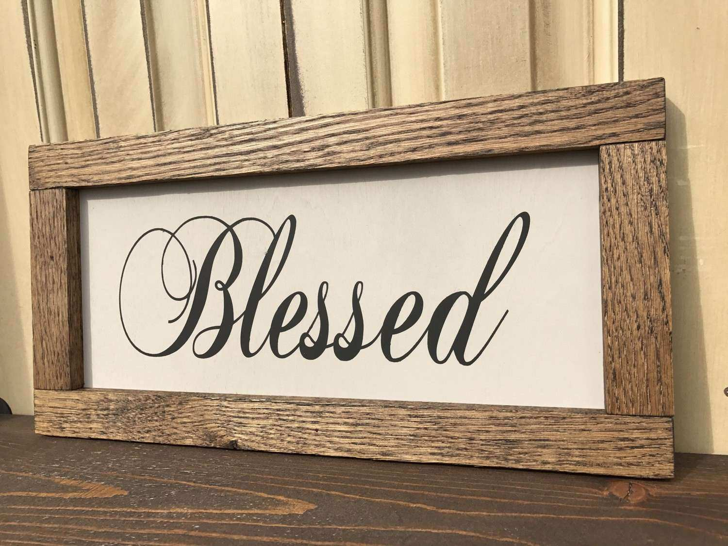 Christian Wall Art Blessed Sign Rustic Home Decor