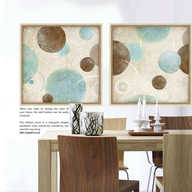 Light blue beige and brown circles modern abstract oil