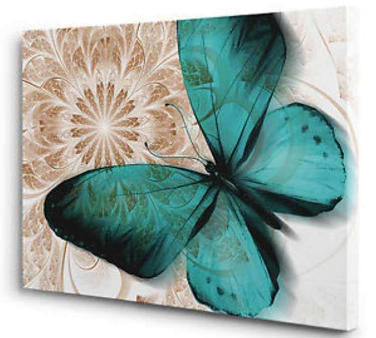 Blue and Brown Wall Art Beautiful Butterfly