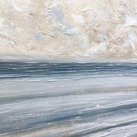 ORIGINAL Art Abstract Blue White Painting Textured Coastal