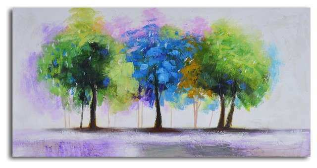 Blue and green copse Hand Painted Canvas Art & Reviews