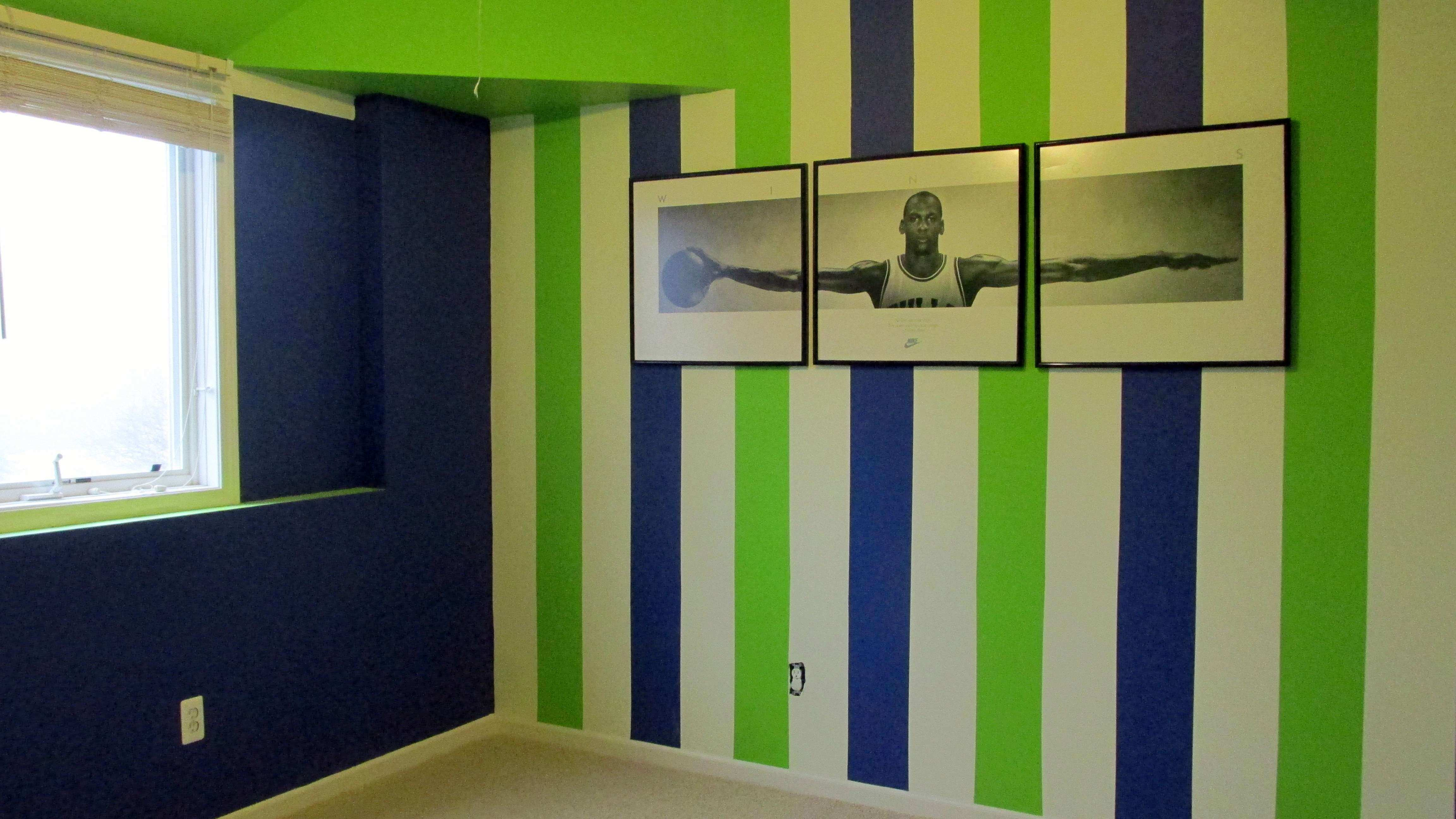Excellent Striped Room Paint With Blue Green Color