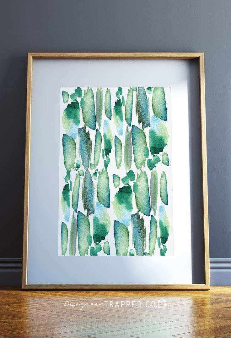Marvelous Watercolor Strokes Abstract Wall Art Blue U
