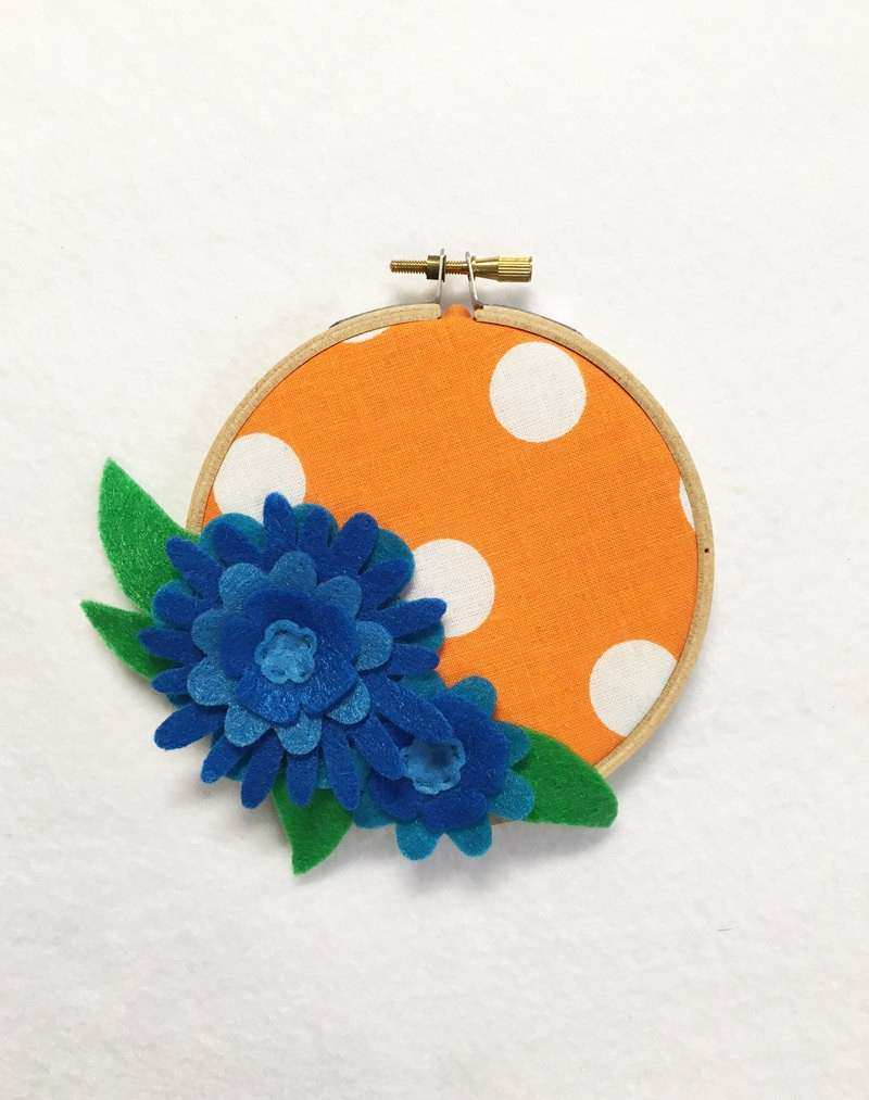 Flower Wall Art Embroidery Hoop Art Blue and Orange