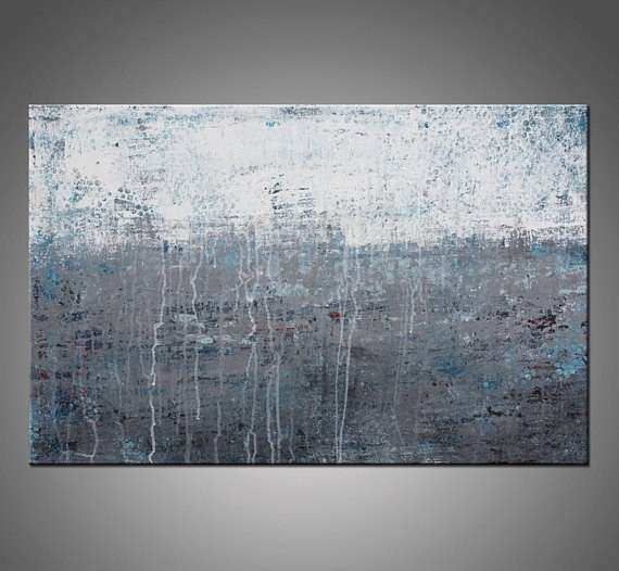 Original Abstract Modern Painting Gray White and Blue Canvas