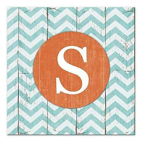 Blue And White Chevron Letter Canvas Wall Art Bed Bath