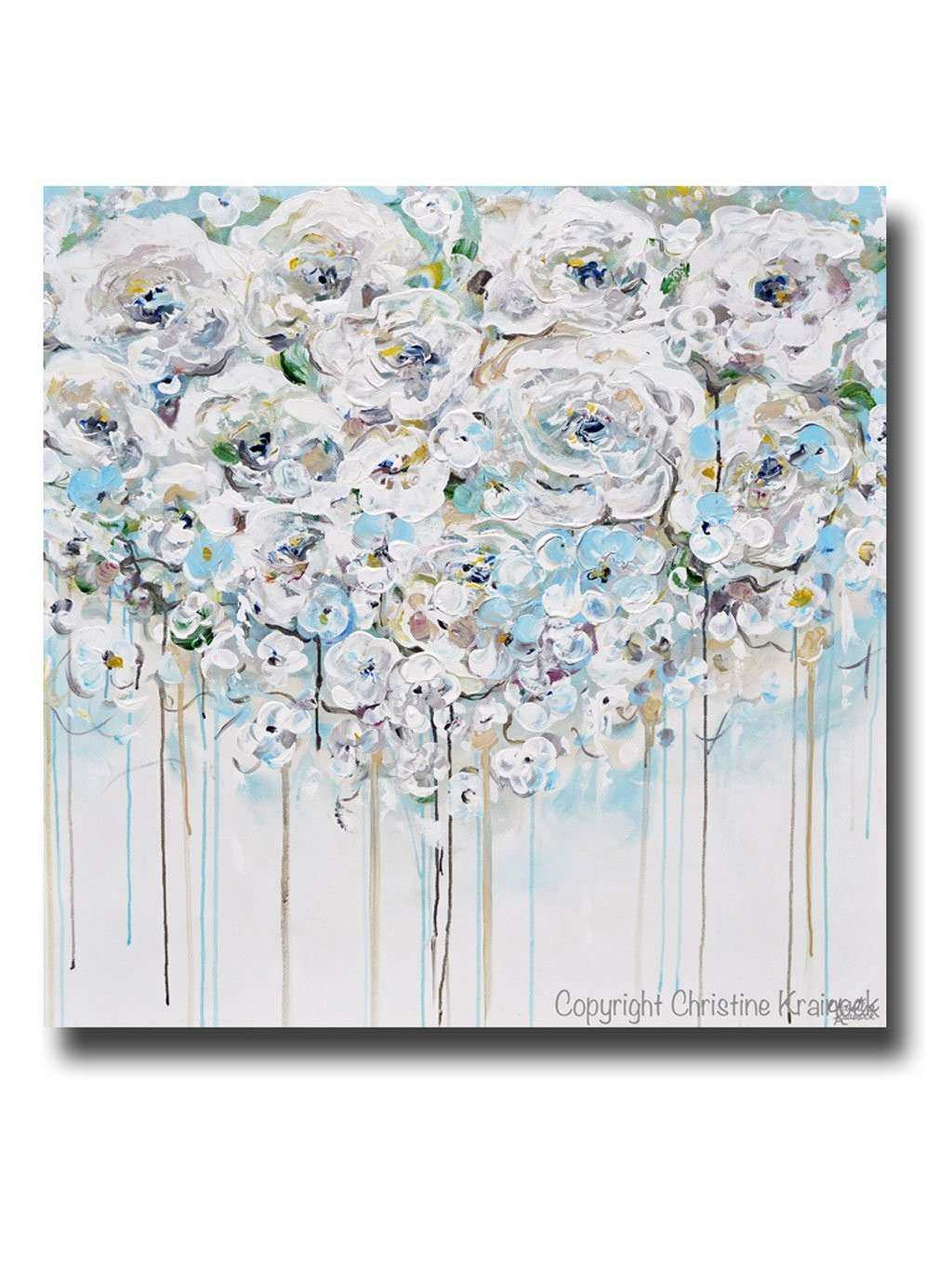 ORIGINAL Art Abstract Painting Floral Light Blue White