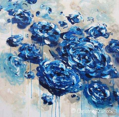 ORIGINAL Art Abstract Navy Blue Floral Painting Flowers