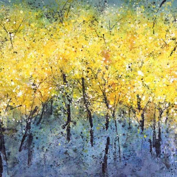Art in Style Wispy Yellow Trees on Blue Hand Painted